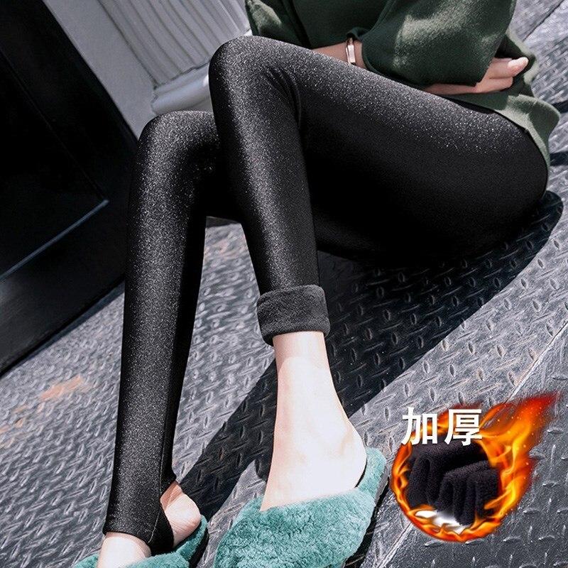 S-3XL Women's Fashion Wear Warm Leggings Women Korean Version Of The Gloss Foot Pants Girls Plus Velvet Thickening Slim Trousers
