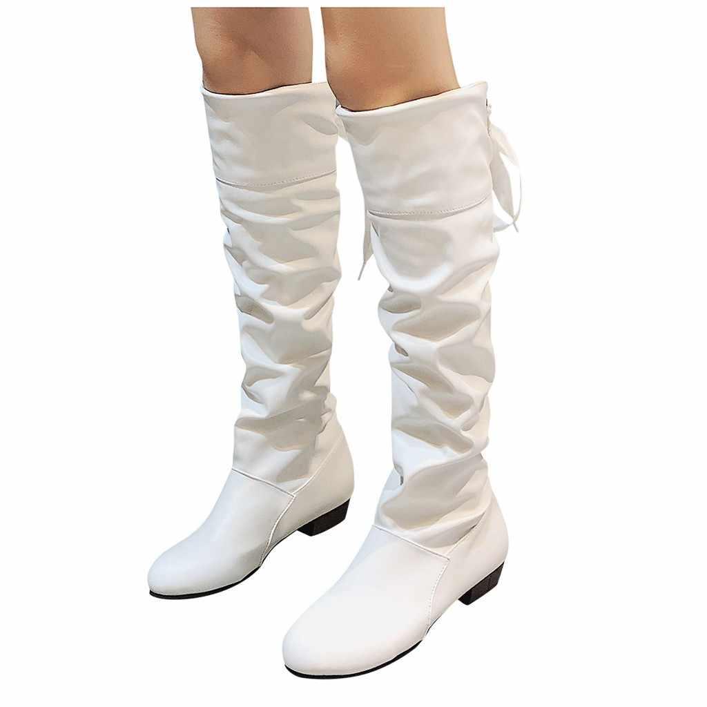 เข่า-สูงสีแดงยาวสำหรับสุภาพสตรีหนัง Puppy รองเท้าส้นสูงลูกไม้ Strappy รองเท้าแบนนักเรียนขนาดใหญ่รองเท้าผู้หญิงรองเท้า