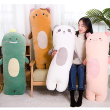 Animals Long Bolster Plushie Toy Soft Stuffed Striped Dinosaur Pig Panda Cat Pillow Kid Adult Sleeping Friend Gift Kawaii Plush