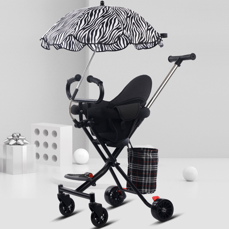 Children's stroller armchair light folding trolley four-wheel baby strollers can seat and lie baby cars