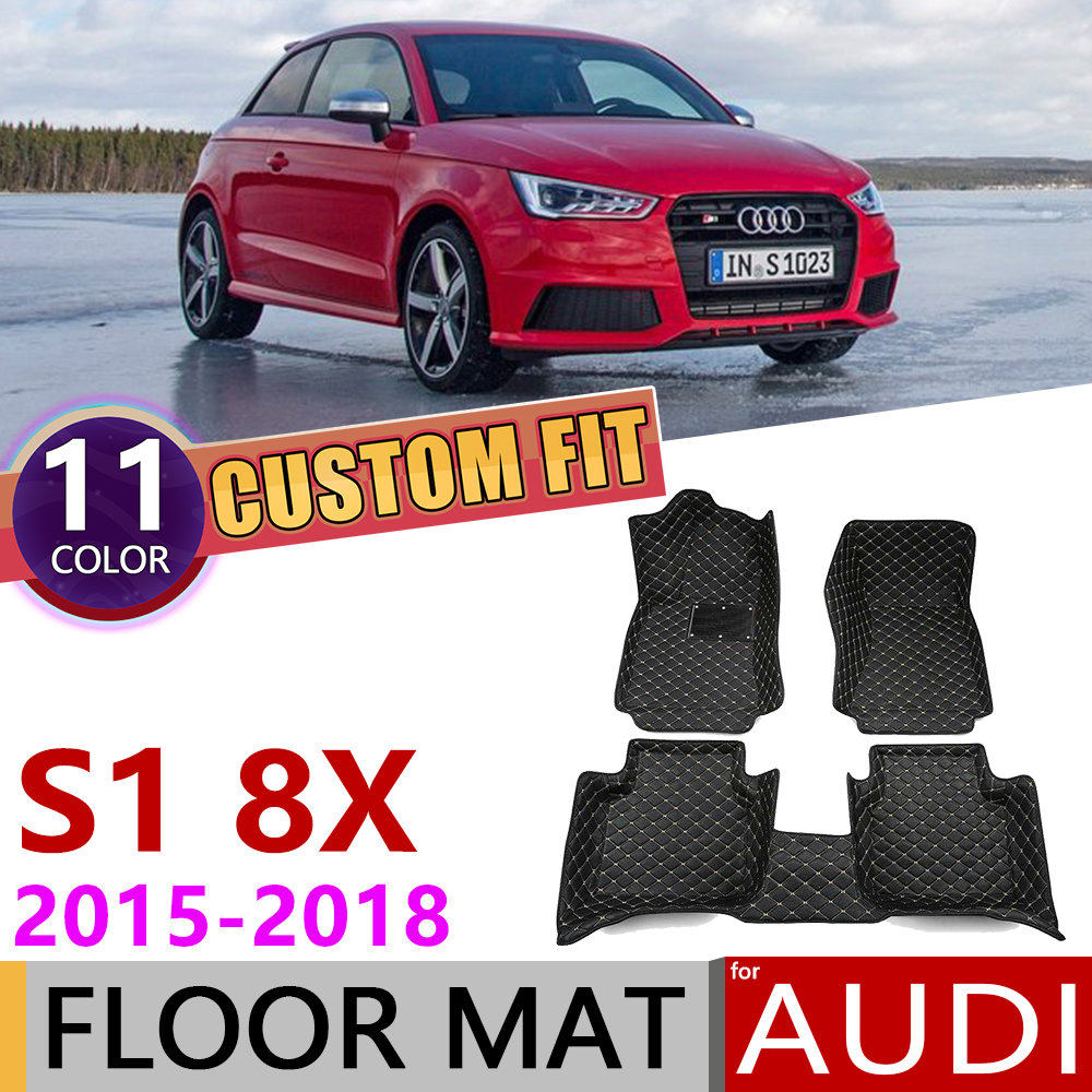 Custom Car Leather Floor Mats For Audi S1 8X 2015~2018 2-door 5 Seats Anti-dirty Auto Foot Pad Carpet Accessories 2016 2017