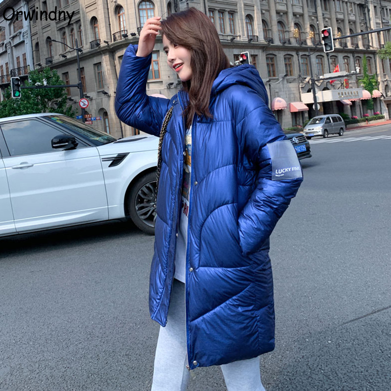 Orwindny Thicken Warm Long Jacket Waterproof Winter Jacket Women Bright Surface Women's Down Cotton Jacket Coat Hooded   Parkas
