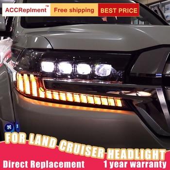 2Pcs LED Headlights For Toyota Land Cruiser 2017-2019 led car lights Angel eyes ALL LED Fog lights LED Daytime Running Lights