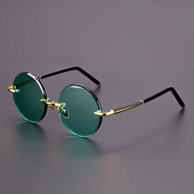 Acetate Vintage Rimless Sunglasses Men Retro Round Sun Glasses Women Natural Cry