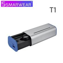 цена на Bluetooth Earphone In-ear HIFI Stereo TWS Wireless Bluetooth 5.0 Noise Reduction Headset Dual Microphone With Charging Box T1