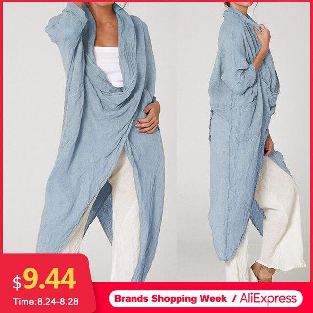 Celmia gran oferta de talla grande mujeres Tops y blusa 5XL Vintage Camisa larga Casual capucha cuello de manga larga asimétrica Blusas femeninas