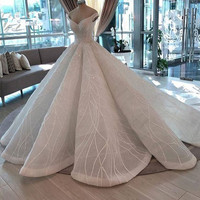 Saudi Arabic Beaded Lace Wedding Dresses 2020 Mariage Puffy Ball Gowns Crystal Plated Luxury Dubai Bridal Gowns