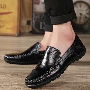 Image 5 - Genuine Leather Men Casual Shoes  2019 Mens Loafers Moccasins Breathable Slip on Black Driving Shoes Plus Size 38 47 B1374