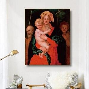 Arte em tela pintura a óleo virgin virgem & bebê jesus com são josé e joão batista poster arte cartaz da parede decoração moderna casa