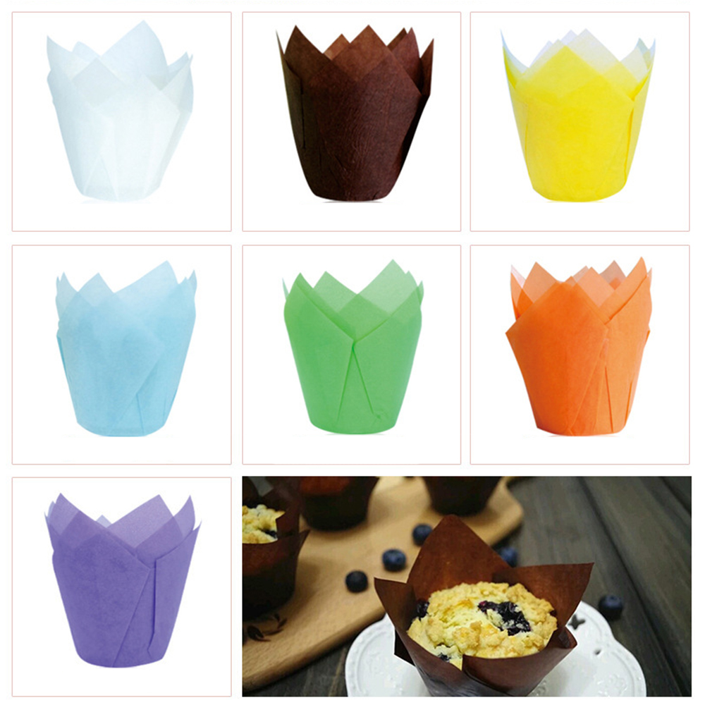 New 50Pcs/set Disposable Paper Cake Decoration Tool Mold Tulip Flower Chocolate Cupcake Wrapper Baking Muffin Paper Liner image