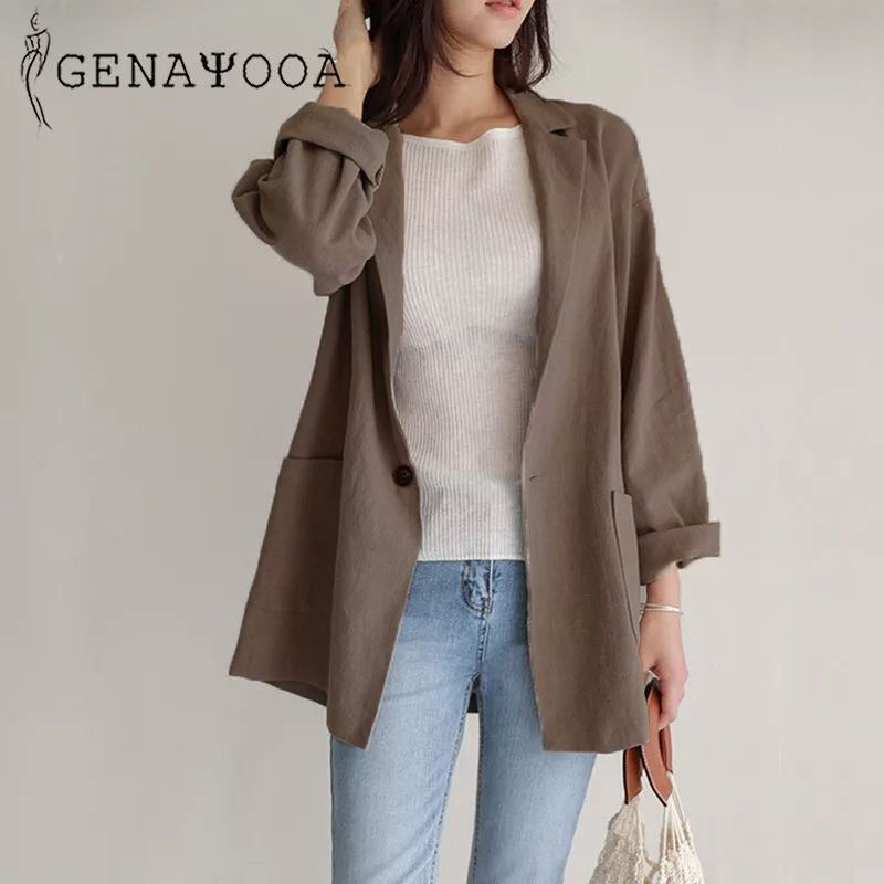 Genayooa Elegant Lady Coat Women Blazers And Jackets Elegant Cotton And Linen Summer Suit Office Lady Spring Coat Women 2019