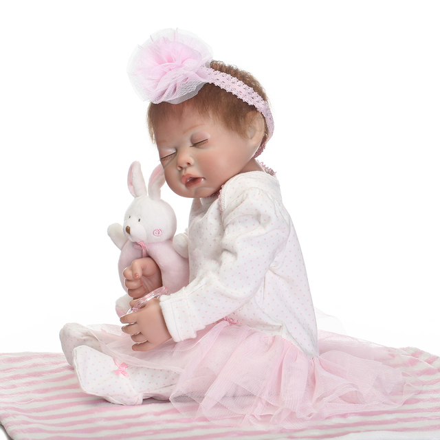 Pink Sleeping Bebe Doll Reborn Baby Soft Silicone Hand Rooted Hair 3