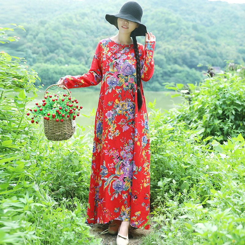 2018 Autumn New Style Ethnic-Style WOMEN'S Dress Retro Large Size Loose-Fit Long Sleeve Cotton Linen Dress