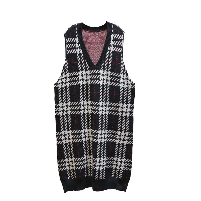 XITAO Plaid Straight Casual Knitted Dress Women Sleeveless 2019 Winter Korean New Style Elegant V Neck Collar Loose DMY1324 26