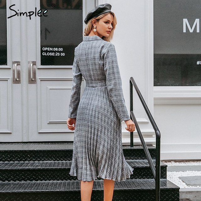 Simplee A-line v-neck blazer women midi dress Elegant long sleeve button sash female blazer dress Pleated office ladies dress 1