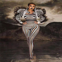 Y93 Female zebra pattern jumpsuit stretch bodysuit cosplay stage dance costumes singer leotard outfit dress clothes party wears