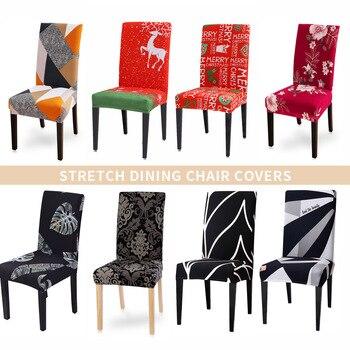Funda de silla de Navidad estampada, elástica, 1/2/4/6 Uds., para bodas, banquetes, asientos de comedor