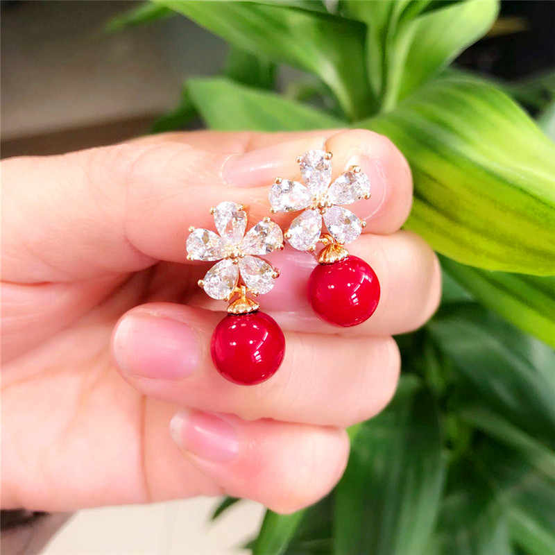 Mode Weibliche Kristall Blume Stud Ohrringe Nette Weiß Rot Perle Ohrringe Boho Silber Gold Zirkon Ohrringe Für Frauen