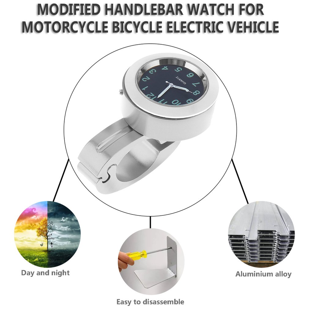 Universal Waterproof Chrome Motorcycle Bike Handlebar Mount Quartz Clock Watch Aluminum Luminous Clock Moto Accessories