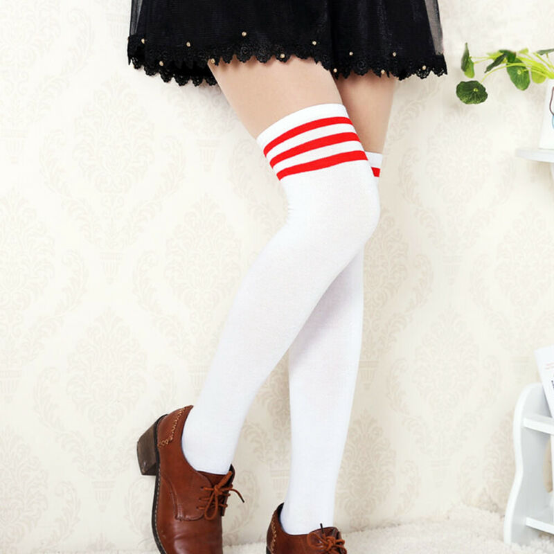 Autumn Warm Thigh Striped Women Cotton Long Stockings Casual School Daily High Sockings For Ladies Girls New Arrival