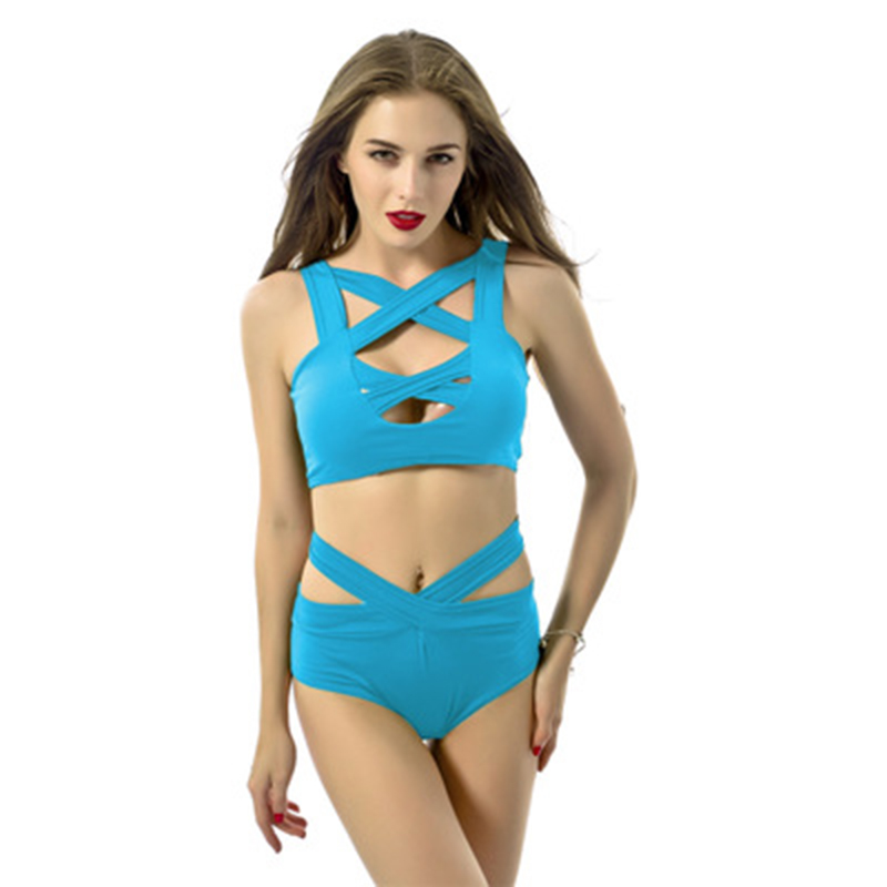 Front Cross-strap Bikini Set Bra Top Bottom Panties for Swimming Beach Pool YS-BUY 2