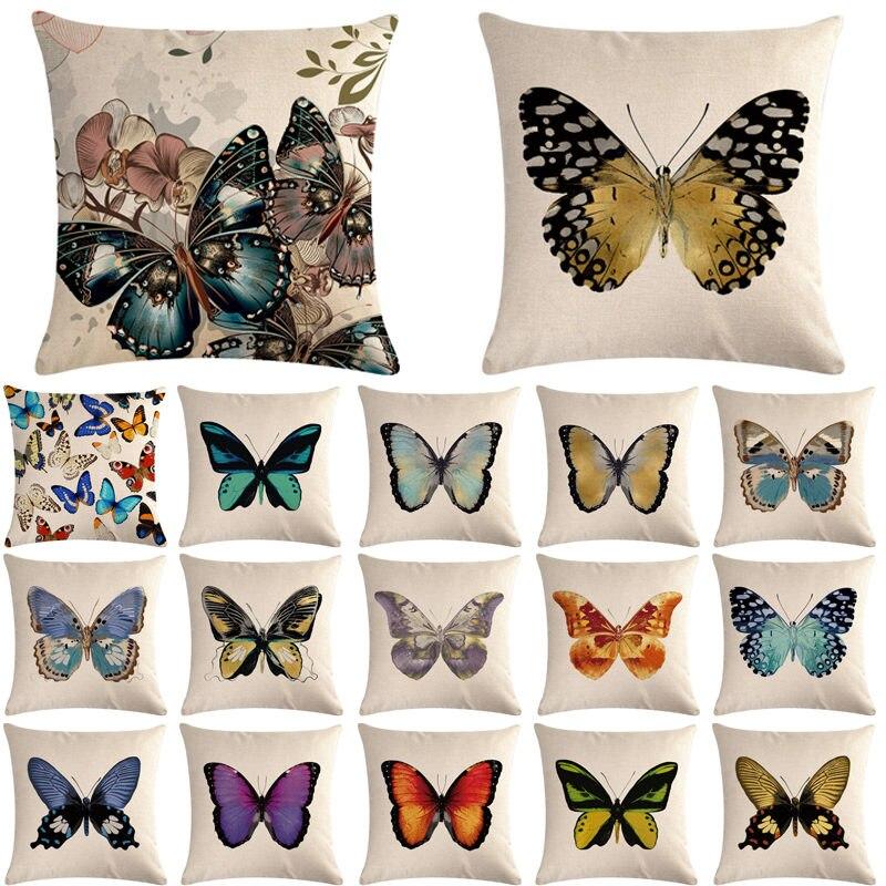 1pcs Butterfly Pattern Cotton Linen Throw Pillow Cushion Cover Car Home Sofa Bed Decorative Pillowcase Funda Cojin Pillows 40652 Cushion Cover Aliexpress