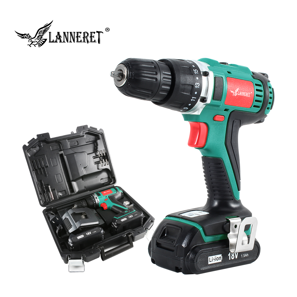LANNERET 18V 45Nm DC Lithium-ion Battery 3/8inch 2-Speed Electric Cordless Drill Mini Electric Screwdriver Wireless Power Driver
