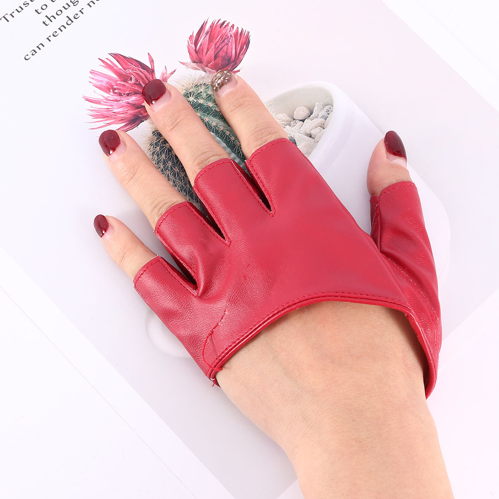 6 Colors Fashion Half Finger PU Leather Gloves Lady Fingerless Driving Show Gloves Cool Fashion Clothing Accessories New