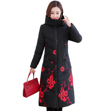 Jacket Women Padded Hooded-Stand Collar Long Parka Plus-Size Winter Cotton Embroidery