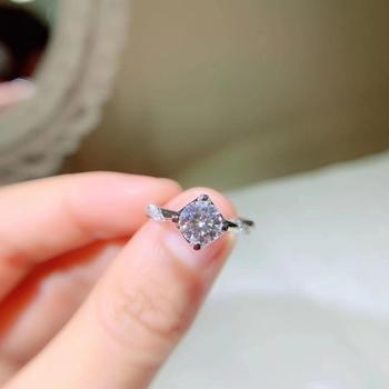 Kkmall Store Round Silver Moissanite Ring 1.00ct D VVS Luxury Moissanite Weding Ring for Women