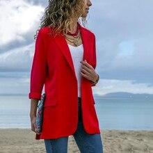 2019 Fashion Woman Suit Jacket Long-sleeved Slim Casual Office Ladies Blazer Women Solid Color Pocket Blazer Female Clothes все цены
