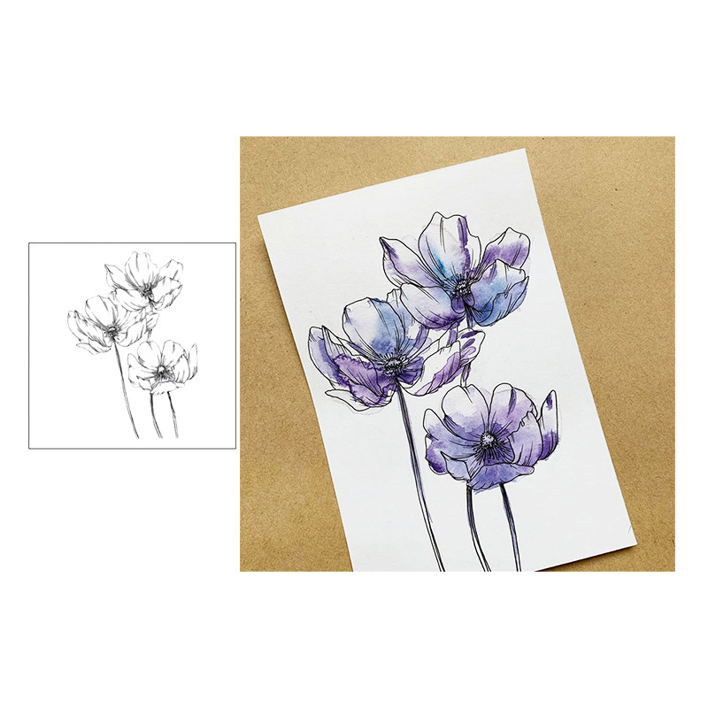Jcarter Clear Stamps Sketch 3pcs Flowers Decoration Rubber Silicone Scrapbooking for Card Making Diy Craft New Stamp 2019
