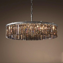 Crystal Hanging Chandelier-Fixture Drop-Lamp Living-Room Restaurant Luxury Round