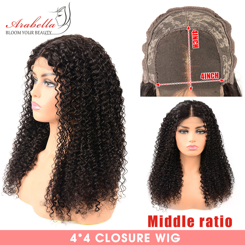 Closure Wig 100% Human Hair Pre Plucked With Baby Hair Middle Ratio Arabella Remy Hair Wig 4*4 Lace Closure Curly Human Hair Wig