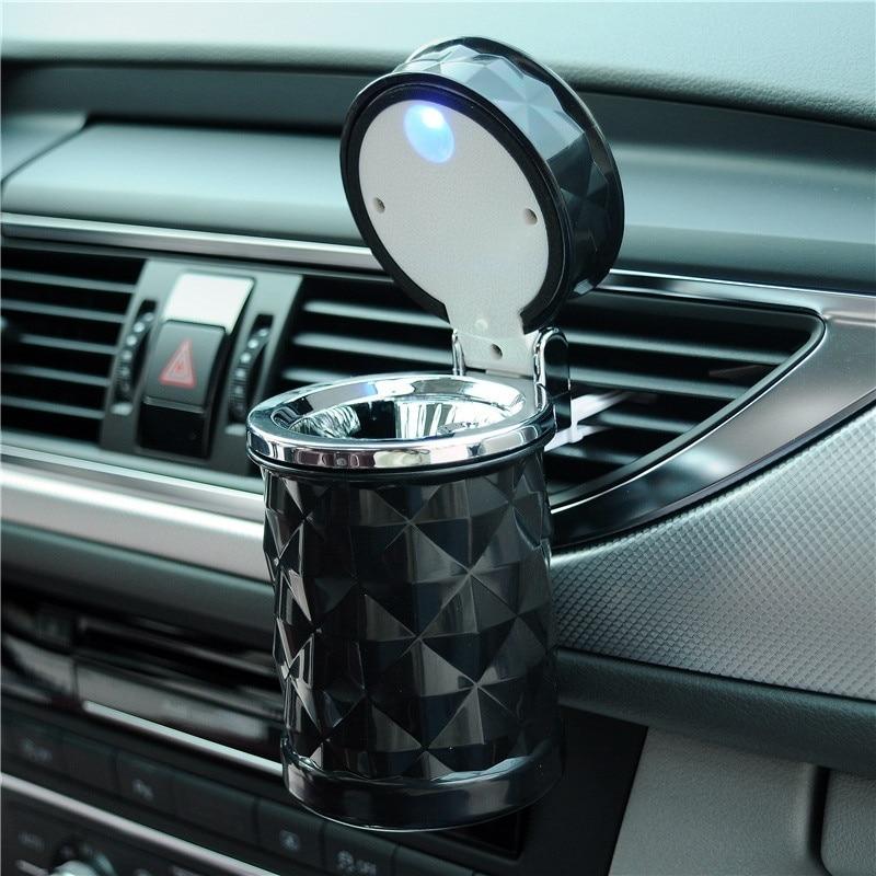 Univesal LED Ashtray Cigarette Cylinder Holder Car Styling Interior Accessories