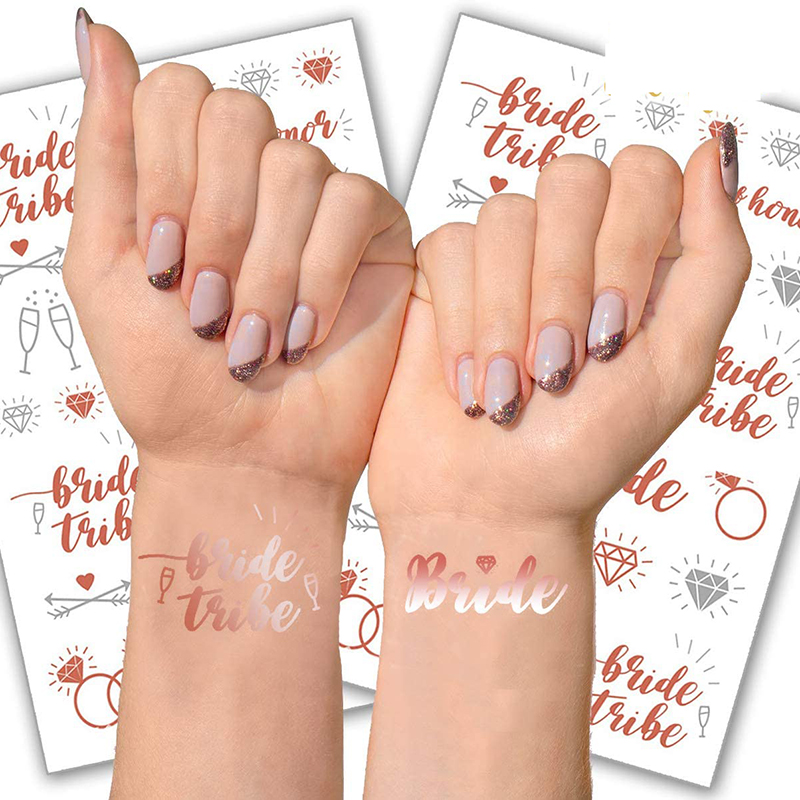 Rose gold theme Bridal Shower Bachelorette hen party wedding bride to be decoration gift Diamond Bridesmaid maid of honor Tattoo