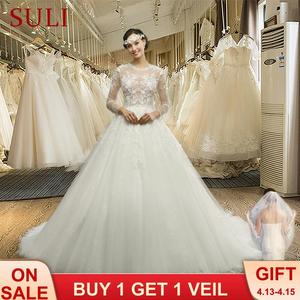 Image 1 - MZ 0061 100% Real photo O neck Long Sleeve Button Appliques Lace Wedding Dress