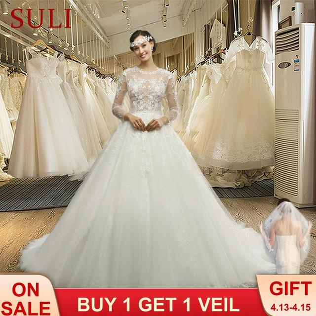 MZ 0061 100% Real photo O neck Long Sleeve Button Appliques Lace Wedding Dress