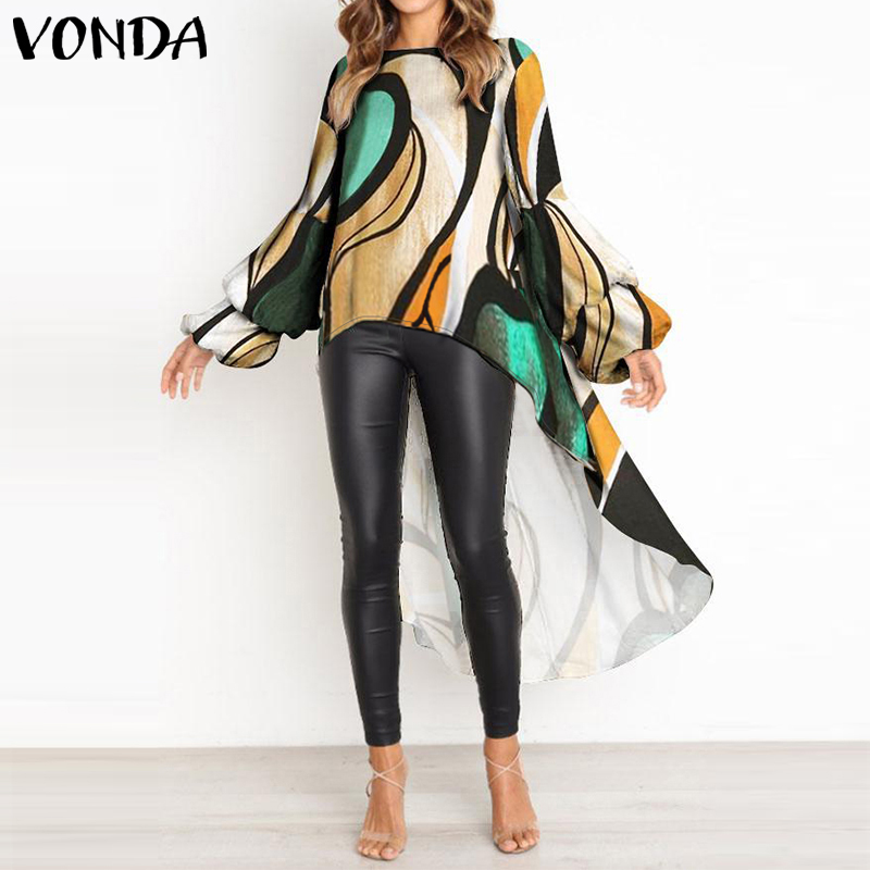 2019 VONDA Fashion Asymmetrical Tops Women's Lantern Sleeve Blouse O Neck Long Shirts Female Casual Blusas Plus Bohemian Tunic