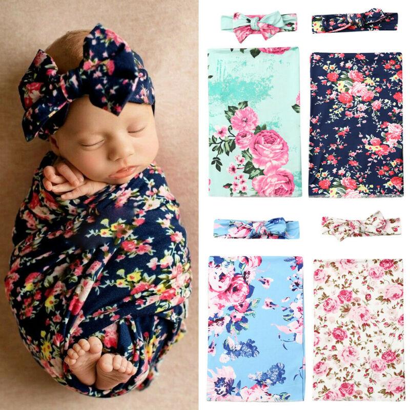 2PCS Soft Baby Blankets Newborn Floral Muslin Blanket Swaddling Wrap Baby Bath Gauze Sleeping Bag Stroller Cover Stroller Cover