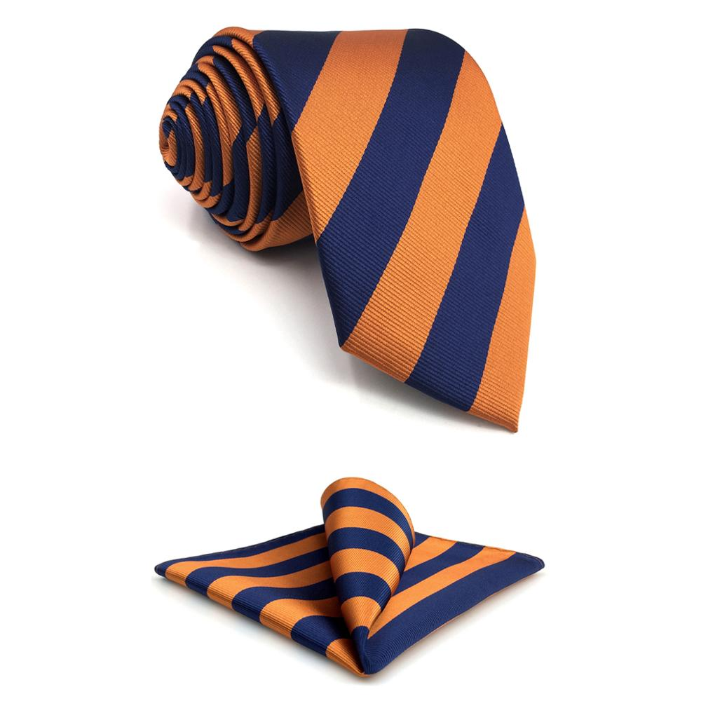 E27 Navy Orange Striped Silk Mens Necktie Set Wedding Dress Ties For Male Brand New Classic Hanky Extra Long Size