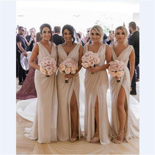 New Arrival Bridesmaid Dresses 2020 V Neck High Split Candy
