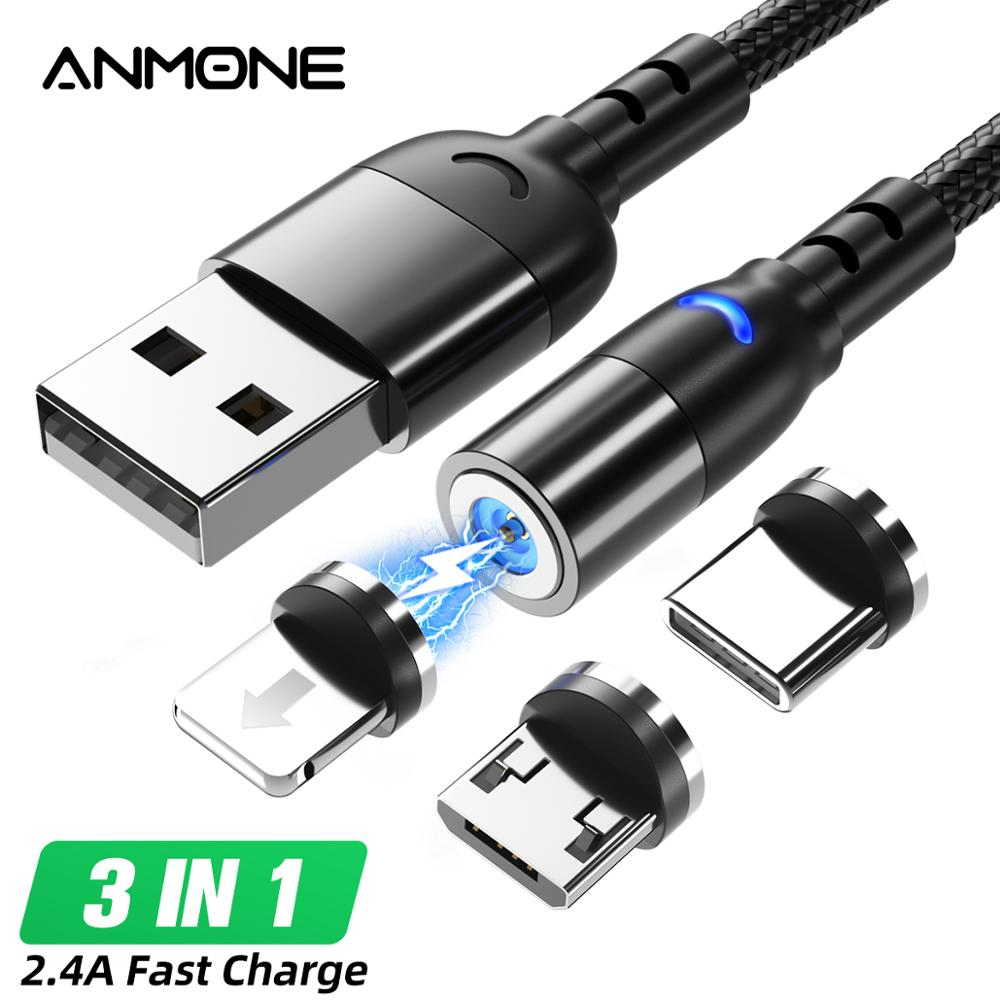 ANMONE Magnetic Charge USB Type C Micro USB Cable Magnet Cable Wire For iPhone Huawei xiaomi redmi note7 Cell Phone Cord Wire(China)