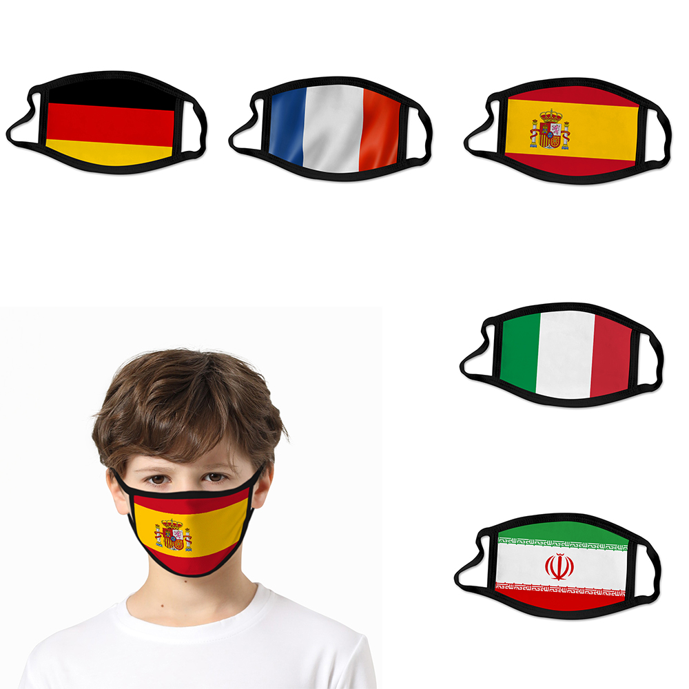 2020 NEW 3D National Flag Face Mask For Kids Women/Men United States Mask Spain Italy Anti Dust Reusable Street Face Mask