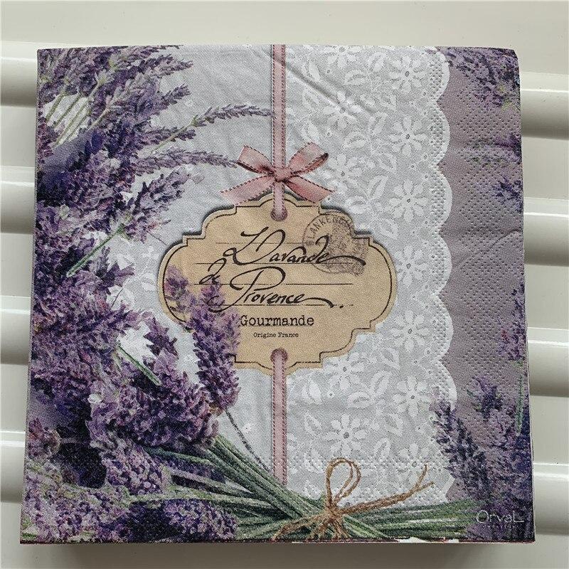 Table Vintage Purple Napkin Paper Elegant Tissue Purple Flower Lavender Handkerchief Decoupage Servilletas Wedding Party Decor