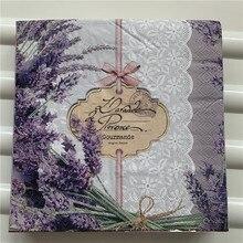 Mesa vintage púrpura servilleta papel pañuelo elegante púrpura flor lavanda pañuelo decoupage servilletas decoración del banquete de boda