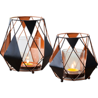 Romantic Dinner Candle Holders Geometric Candlestick Iron Wedding Centerpieces for Tables Party Decor Accessories BB70ZT