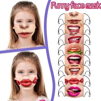 Children Kids Big Mouth Funny Face Mask Reusable Washable Breathable Mask Face-mask Fashion Bandana Flag non-Disposable Maske#3 1