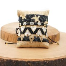 BLUESTAR Bohemian 5pcs One Set Geometric Woven Bracelet Handmade Miyuki Crystal Heart Braided Bracelets For Women Jewelry stylish heart geometric bracelet for women