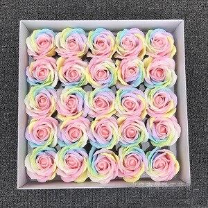 Image 3 - 25ピース/セットカラフルな石鹸ローズ装飾花石鹸花びら結婚式の好意バレンタインデーのギフトレインボーローズブーケ